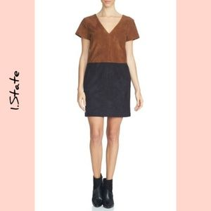 Nwt 1.State  Faux Suede Colorblock Shift Dress